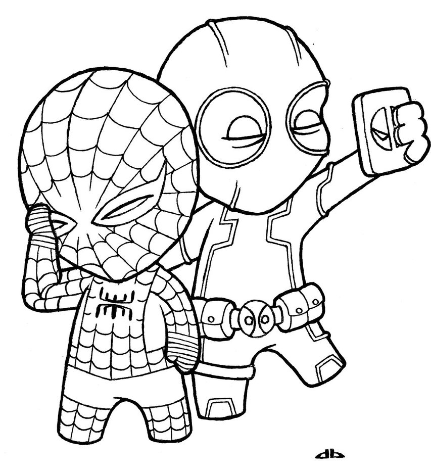 853x936 Spiderman Cartoon Drawing Little Deadpool And Little Spiderman By