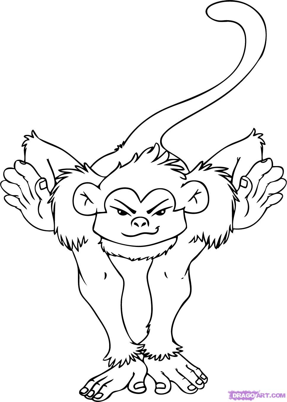 968x1356 Drawing Of A Monkey How To Draw A Spider Monkey, Spider Monkey