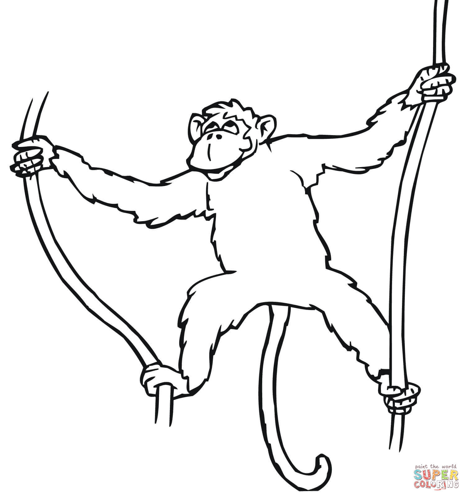 1500x1600 Hanging Monkey Drawing Spider Monkey Hanging From Tree Coloring