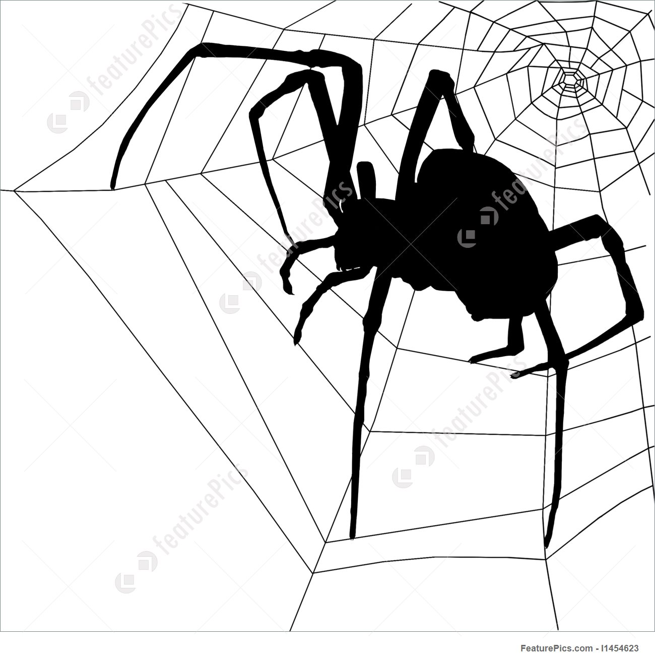 1300x1314 Illustration Of Frightening Halloween Spider And Web Silhouette