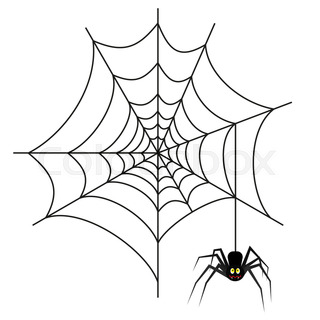 320x320 Picture On Halloween Spider Web On Color Background Stock Photo