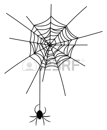 370x450 Vector Illustration Of A Spider On A Cobweb. Black Silhouette