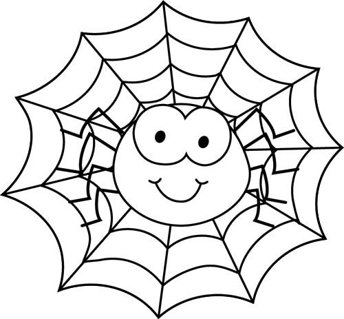 500x463 Spider In Spider Web Coloring Page Adult And Children's Coloring