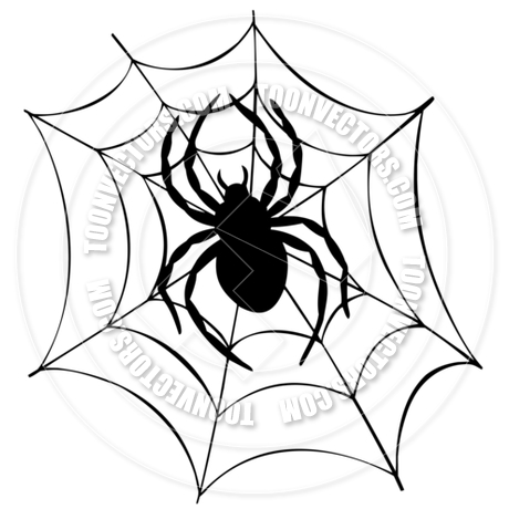 460x460 Cartoon Silhouette Of Spider In Web By Clairev Toon Vectors Eps