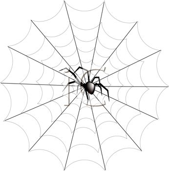 346x350 Spider Web Black Widow Spider On Web Free Clipart Picture