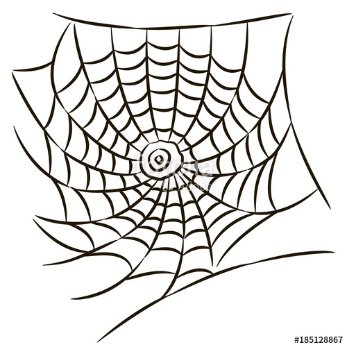 500x500 Halloween Black Spider Web Isolated On White Background. Stock