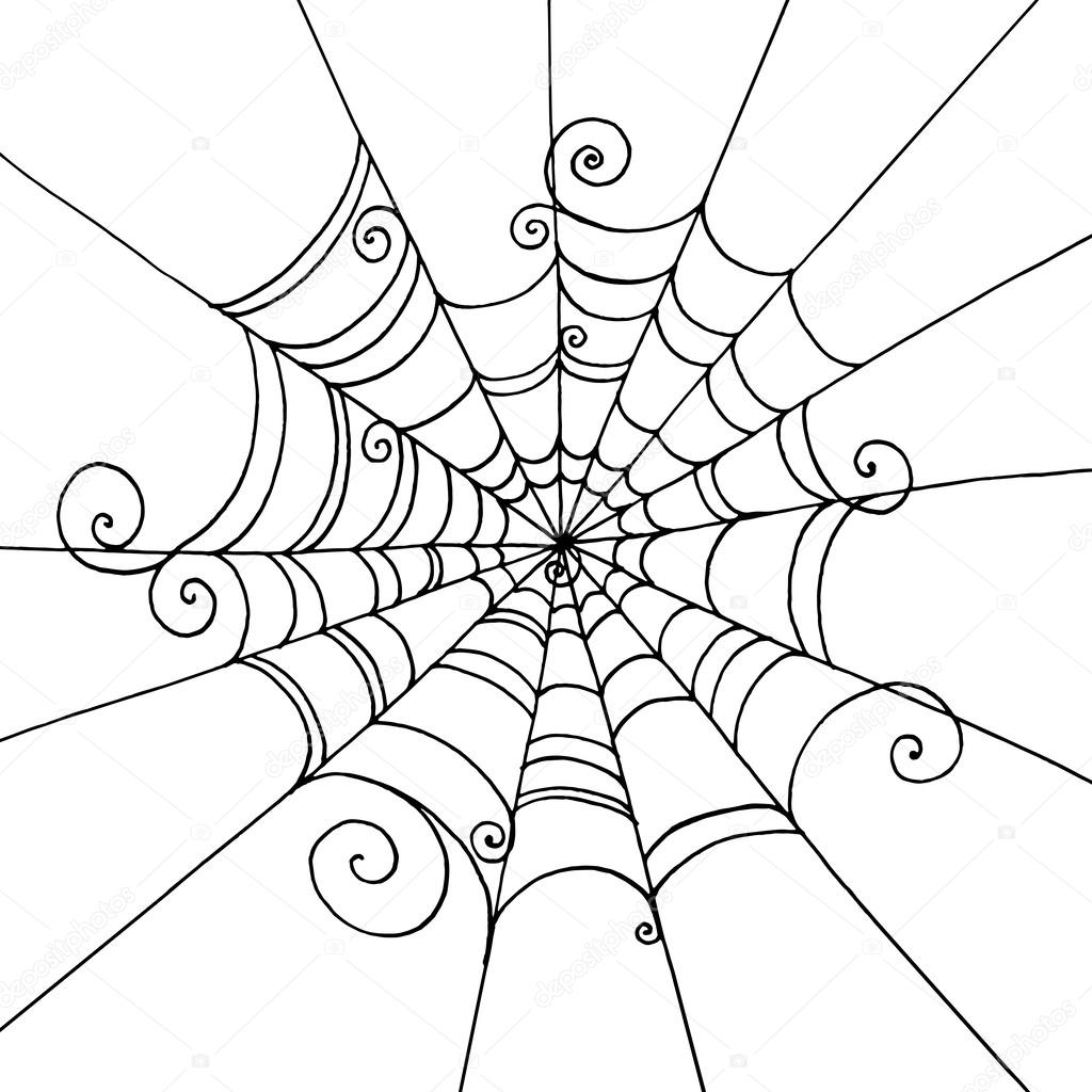 1024x1024 Spider Web Hand Drawn On Isolated White Background. Background