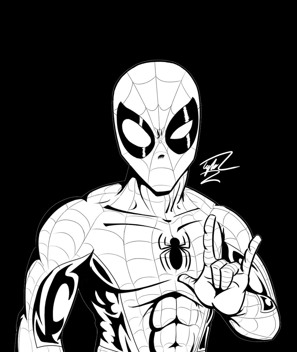 1024x1214 Spider Man Black And White Portrait By Tylerl01tv