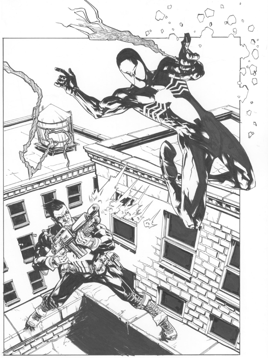 936x1250 Black Suit Spider Man Vs. Punisher By Andy Macdonald, In Fazle C'S