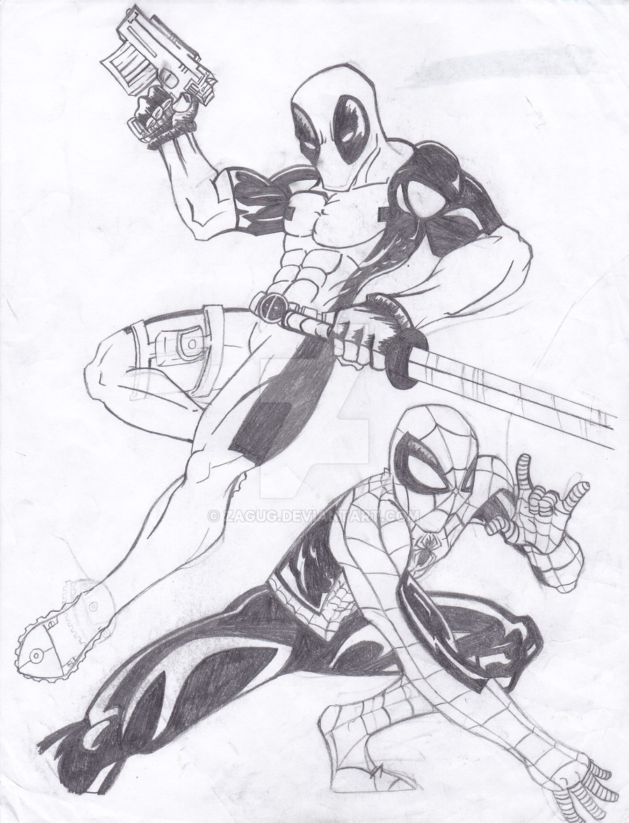900x1177 Spiderman And Deadpool Sketch By Zagug