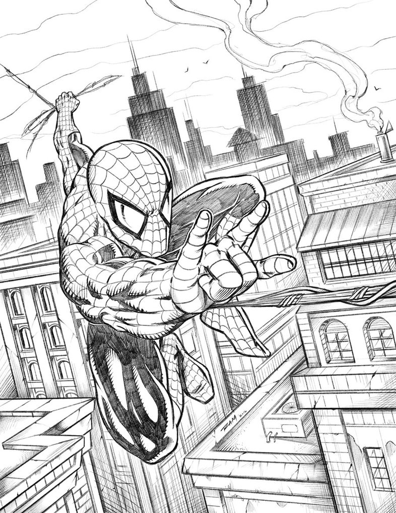 786x1017 Spiderman Swinging Over The City By