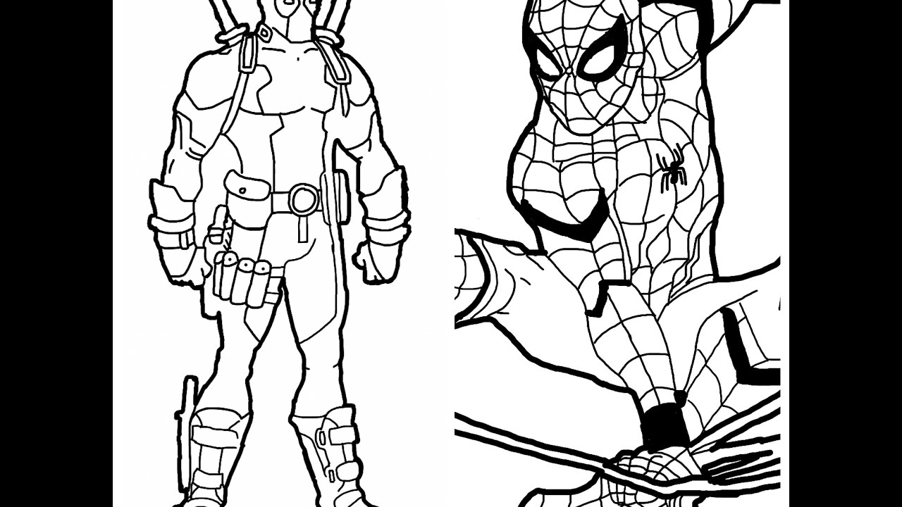 1280x720 Deadpool And Spider Man Drawings