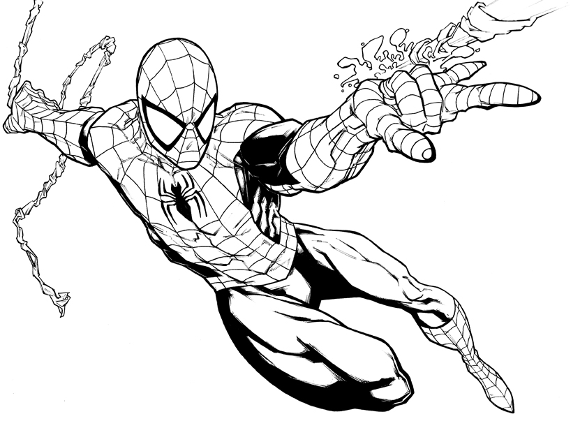 841x613 spider man black and white clipart 38 - Spiderman Halloween Coloring Pages