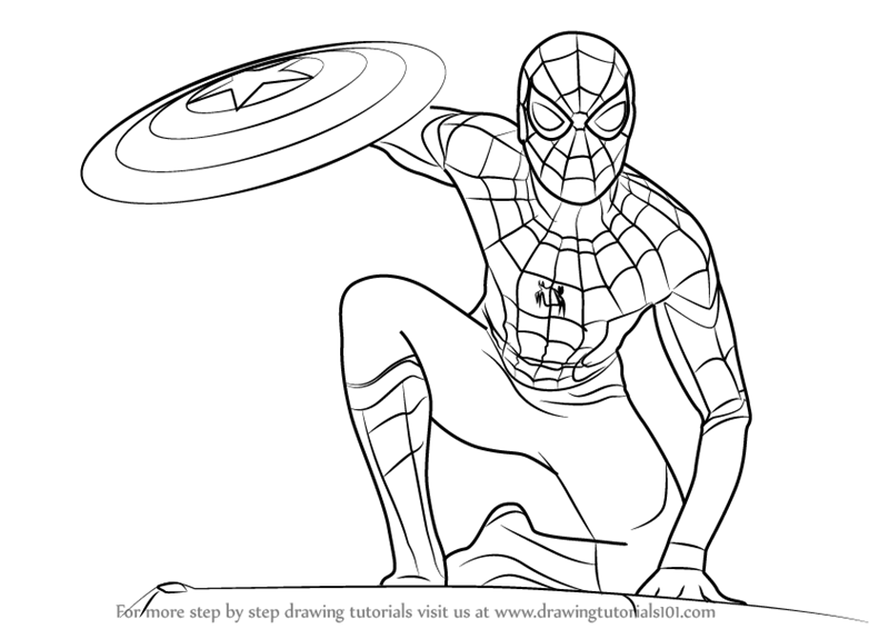 800x566 Coloring Pages Spiderman Drawing Easy Spiderman Drawing Easy
