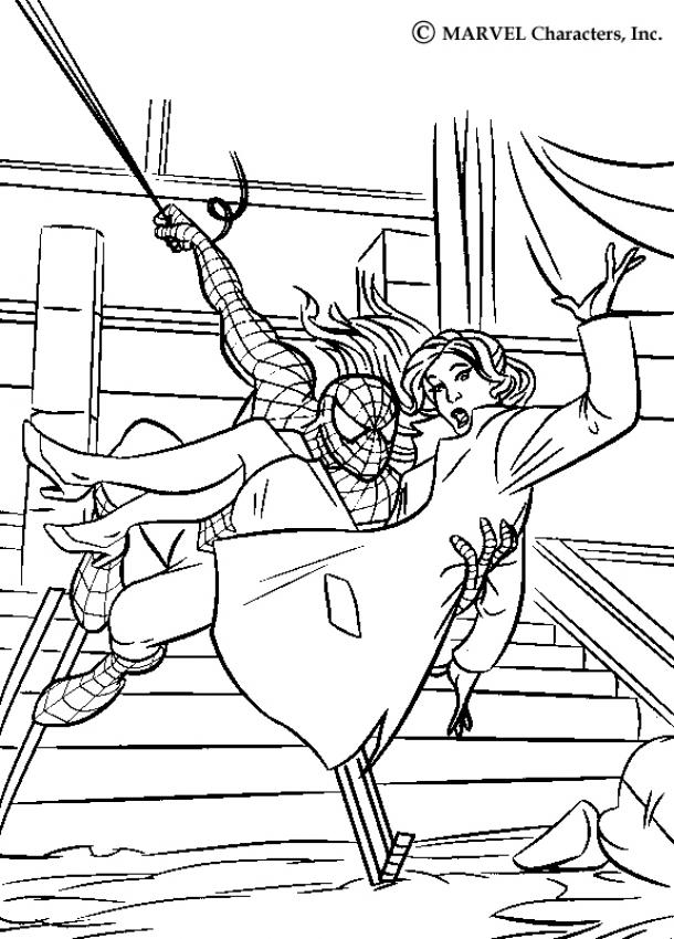 610x850 Spiderman Saving Mary Jane Coloring Pages