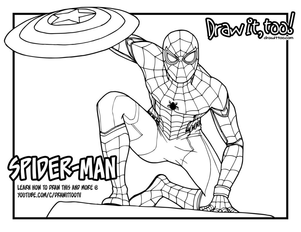 1024x791 spiderman coloring pages homecoming coloring page for kids