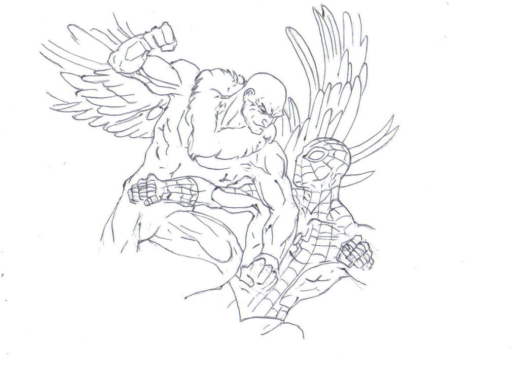 1024x740 Vulture Vs Spiderman Drawing By Electronicdave