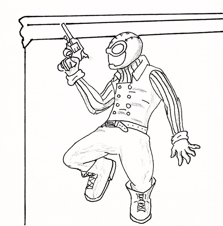 889x899 Spider Man Noir Outline By Deterex525