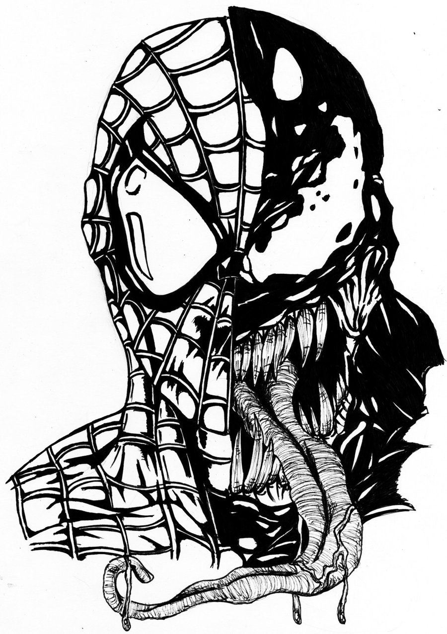 900x1276 Venom Face Outline Drawing Spiderman Vs Venom Coloring Pages