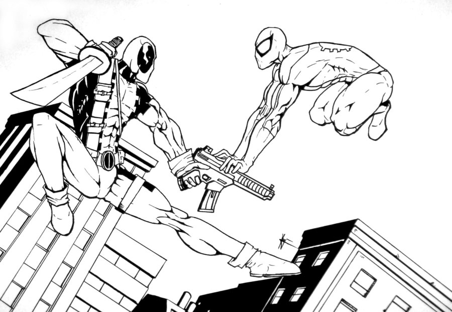 900x622 simple deadpool and spiderman coloring pages