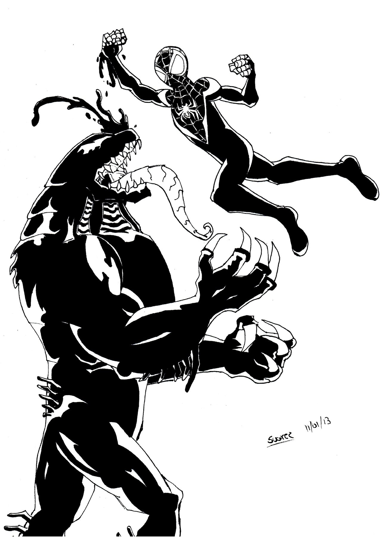 1280x1798 New Ultimate Spiderman Vs New Ultimate Venom Lines By