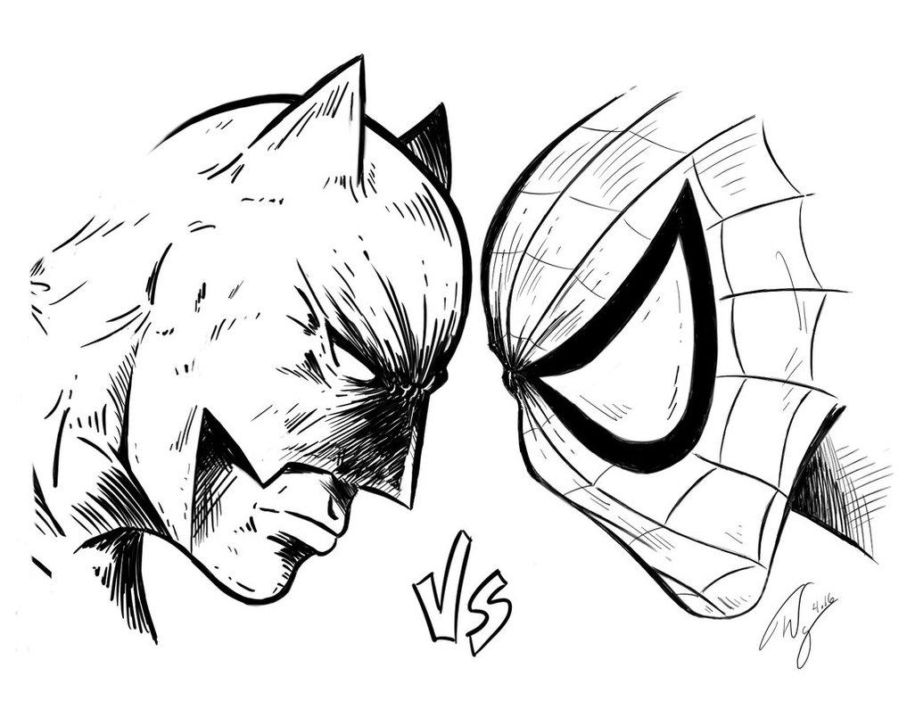 Spiderman Vs Batman Drawing at GetDrawings | Free download