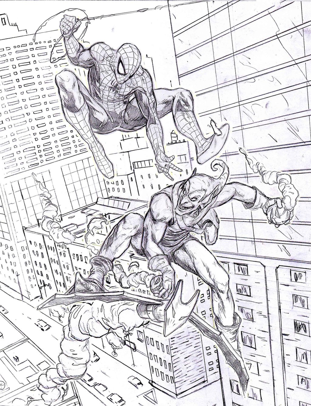 Spiderman Fighting Green Goblin Coloring Pages - Master Coloring Pages