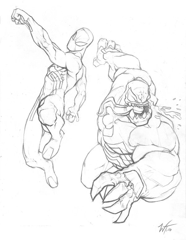 Spiderman Vs Venom Drawing at GetDrawings.com   Free for personal ...
