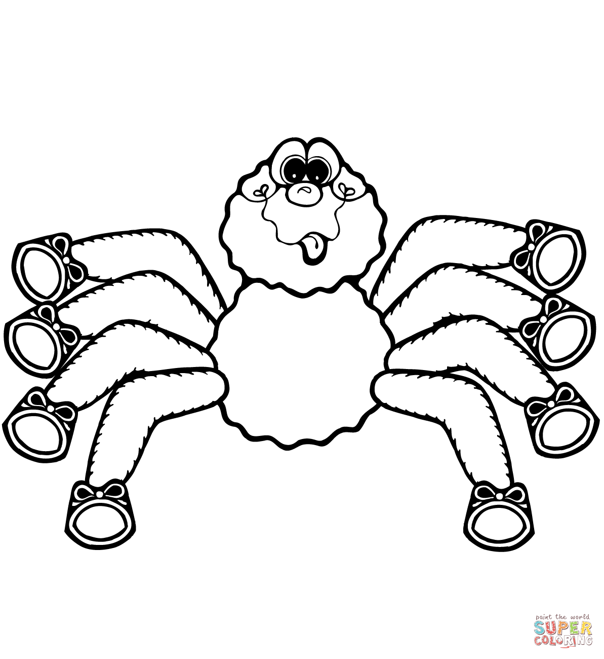 1193x1300 Cartoon Spider Coloring Page Free Printable Coloring Pages