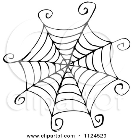 450x470 Clipart Of A Sketched Black And White Spider Web