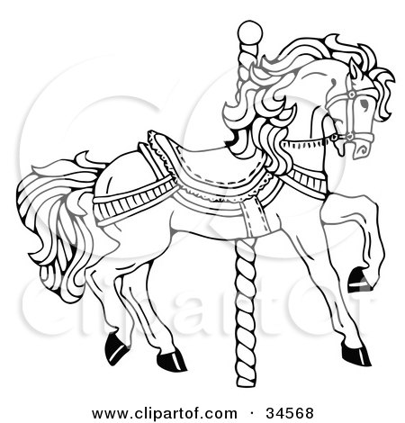450x470 Clipart Illustration Of A Carousel Horse Facing Right, On A Spiral