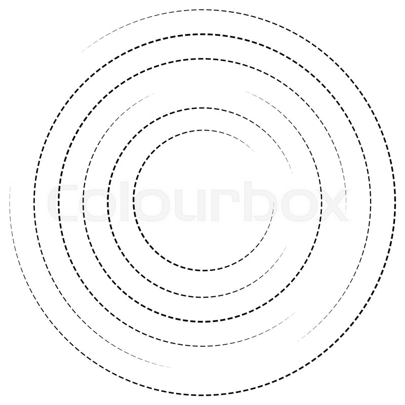 800x800 Concentric Circles With Dashed Lines. Circular Spiral Element