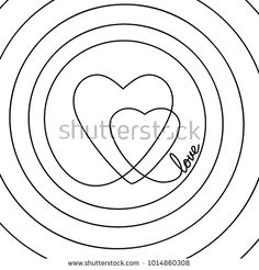 236x246 Continuous Line Drawing Of Two Hearts And Word Love Inside Spiral