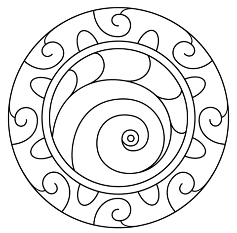 480x472 Mandala With Spiral Pattern Coloring Page Free Printable