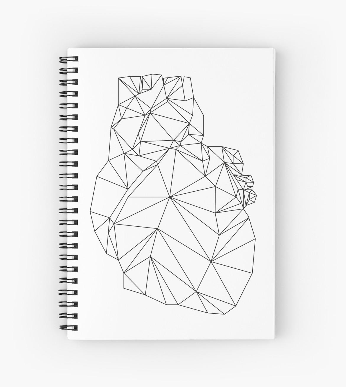 1171x1313 Polygon Heart Spiral Notebooks By Samokami Redbubble