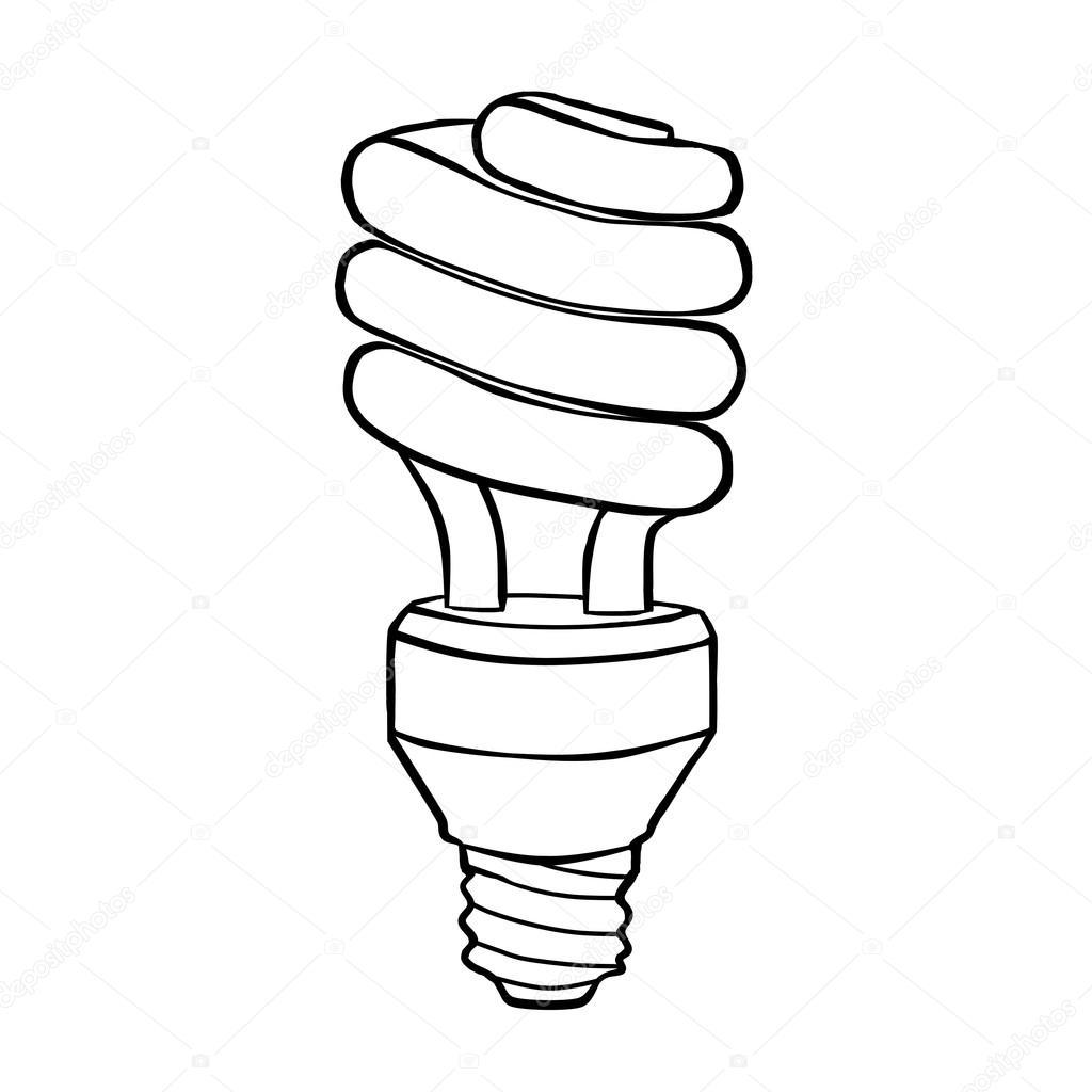 1024x1024 Spiral Energy Saving Electric Discharge Lamp. Contour Drawing