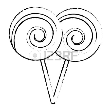 450x450 Two Lollipop Round Spiral Sweet With Stick Vector Illustration