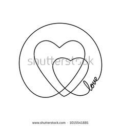 236x246 Abstract Background Made Of Continuous Line Drawing Two Hearts