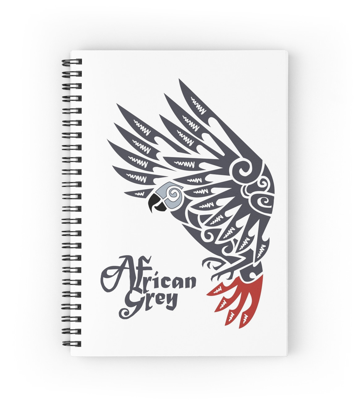 1171x1313 African Grey Parrot Tribal Tattoo Spiral Notebooks By