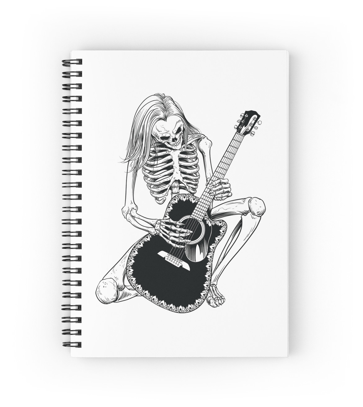 1171x1313 Skeleton Bones Dead Acoustic Guitar Player Spiral Notebooks By