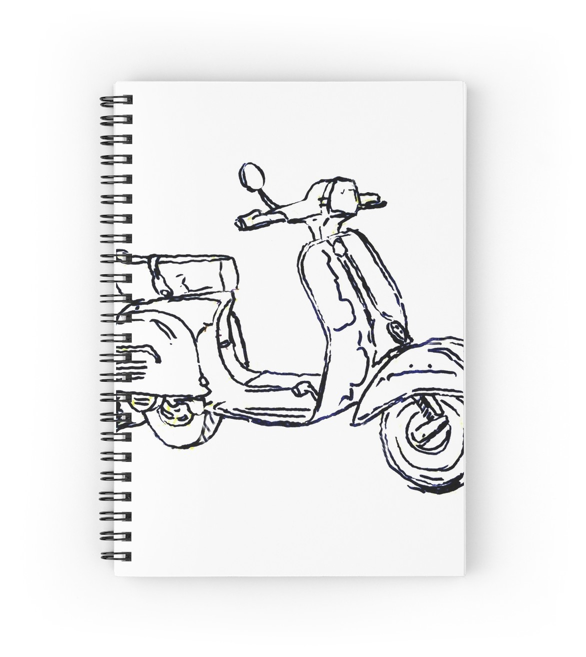 1171x1313 Vespa Bajaj Piaggio Scooter Pen Drawing Spiral Notebooks By