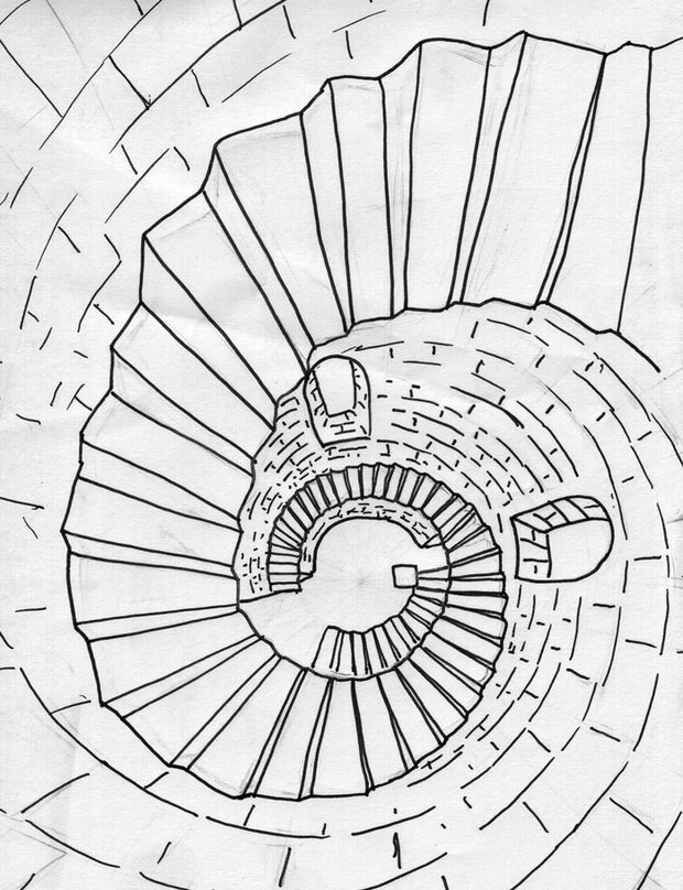 620x808 How To Draw A Spiral Staircase In Perspective 3d