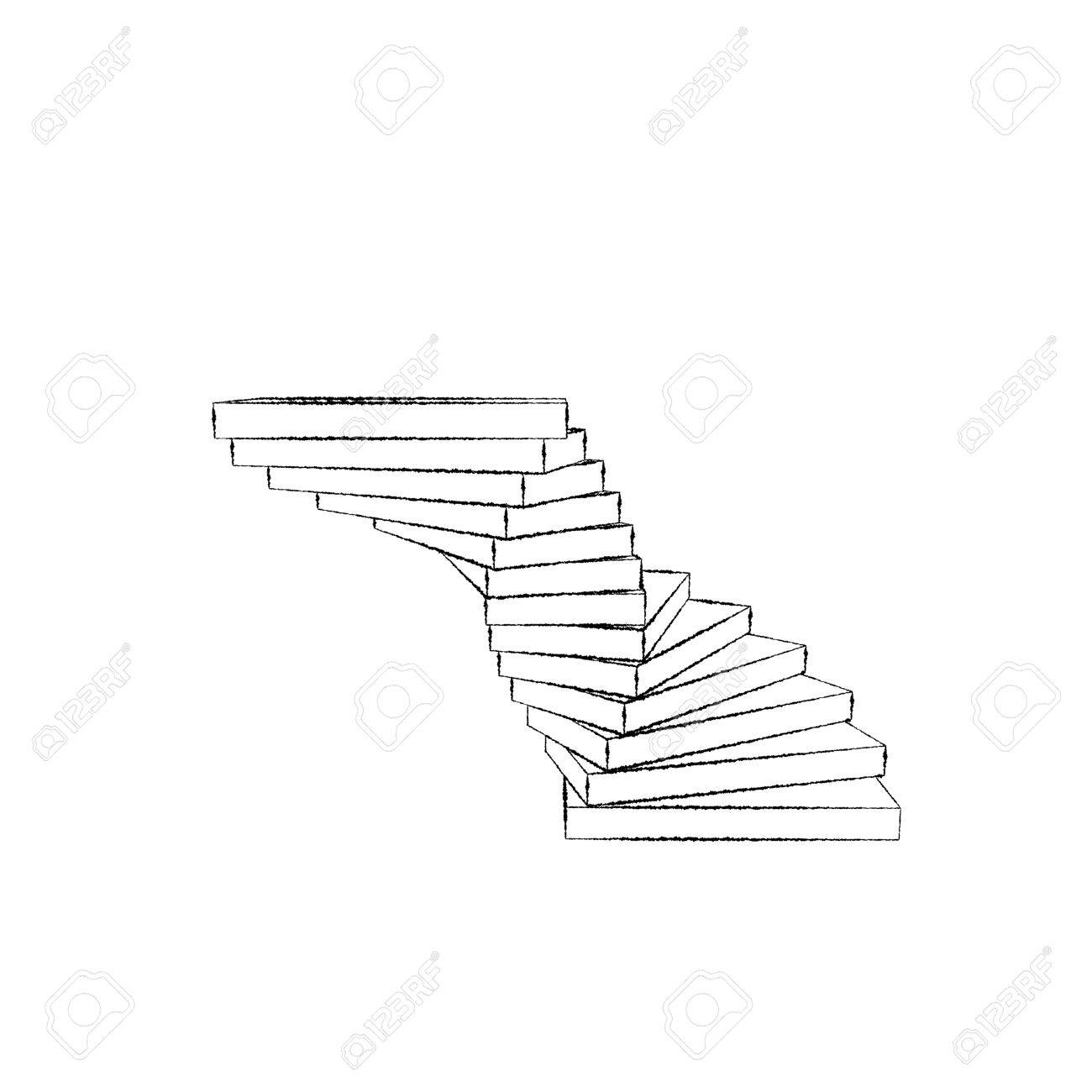 1300x1300 Spiral Staircase. Isolated On White Background. Sketch