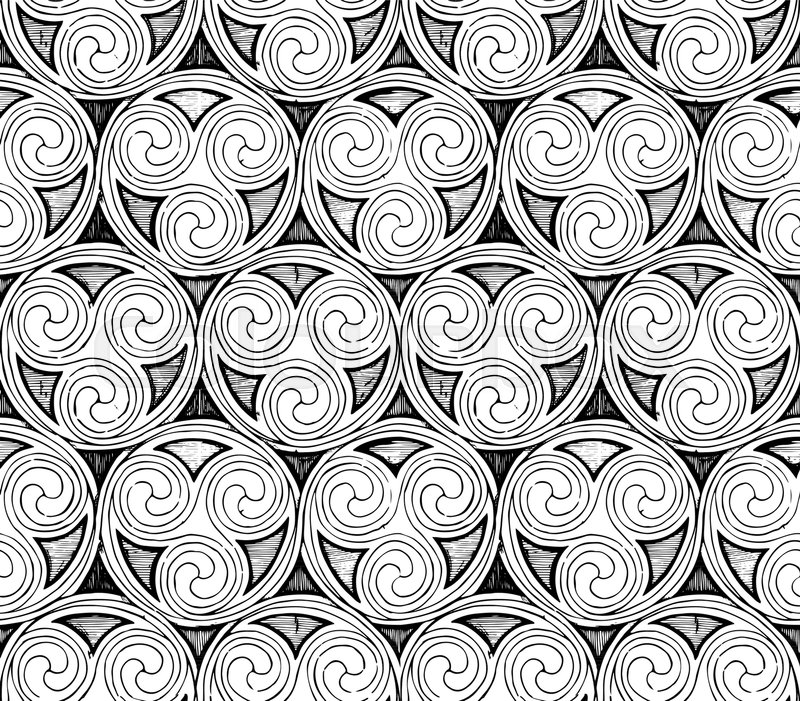 800x701 Seamless Celtic Spirals Patterns In Ink Hand Drawn Style. Stock