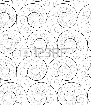 388x450 Black And White Seamless Fractal Pattern Of Spirals Royalty Free