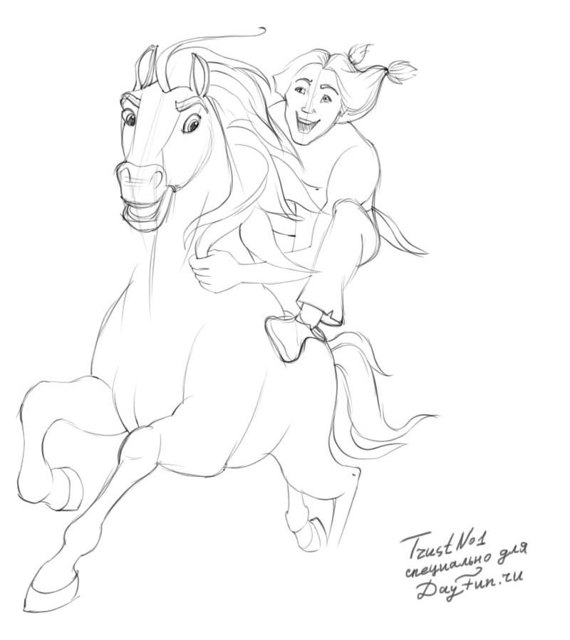800x899 How To Draw Spirit The Stallion Of The Cimarron Step By Step