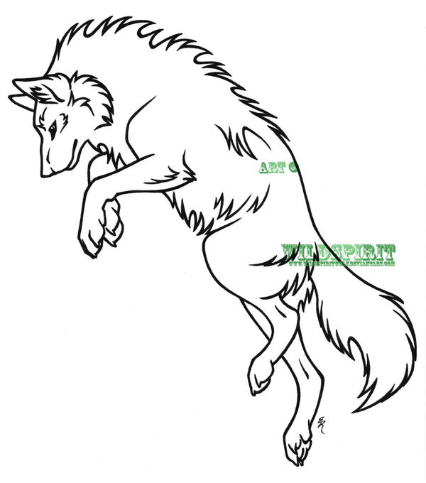 600x680 Leaping Wolf Lineart By Wildspiritwolf