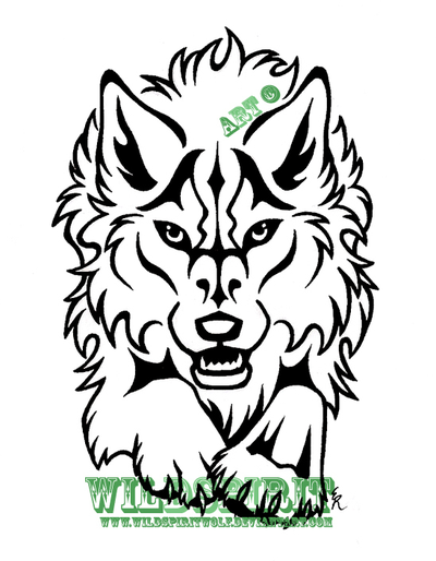 400x514 Spirit Face Patterns Fierce Leaping Wolf Design By