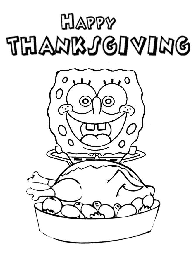670x867 SpongeBob Happy Thanksgiving Coloring Page