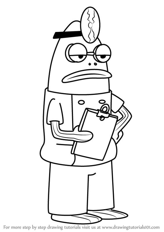 566x800 Learn How To Draw Purple Doctorfish From Spongebob Squarepants